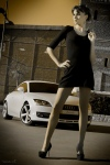 audi-tt-mk2-8j-sexy-brunette-black-dress