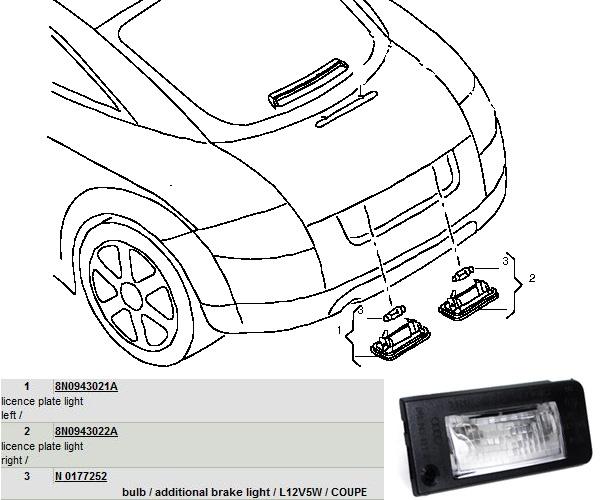 Audi-TT-MK1-Licence-Plate-Lights-8N0943021A-8N0943022A-N0177252